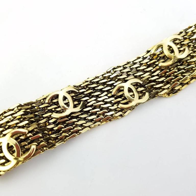 "Chanel Gold Toned Hardware ""CC"" Logo Chain Bracelet  5"
