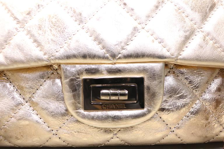 2b7a90515c29 Gray Chanel Rose Gold Metallic 2.55 Quilted Calfskin Shoulder Jumbo Double  Flap Bag For Sale