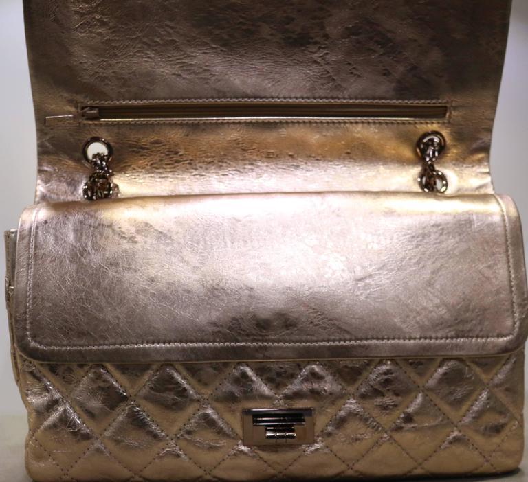 Chanel Rose Gold Metallic 2 55 Quilted Calfskin Shoulder