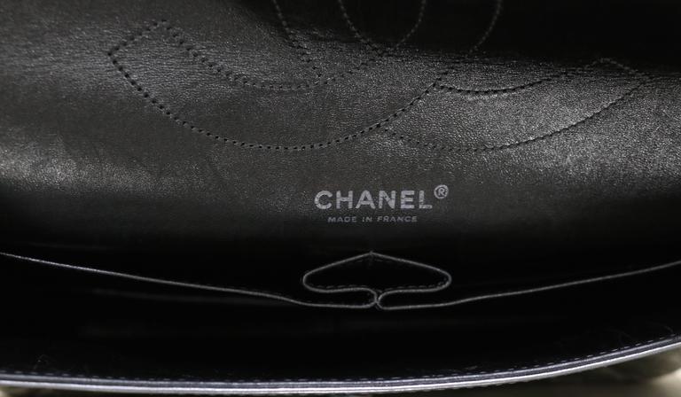 Chanel Silver Metallic 2 55 Quilted Calfskin Shoulder