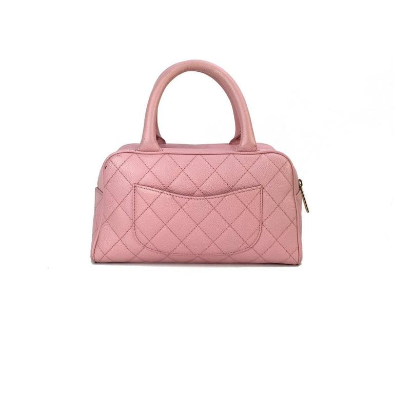 Chanel Pink Quilted Caviar Bowler Bag At 1stdibs