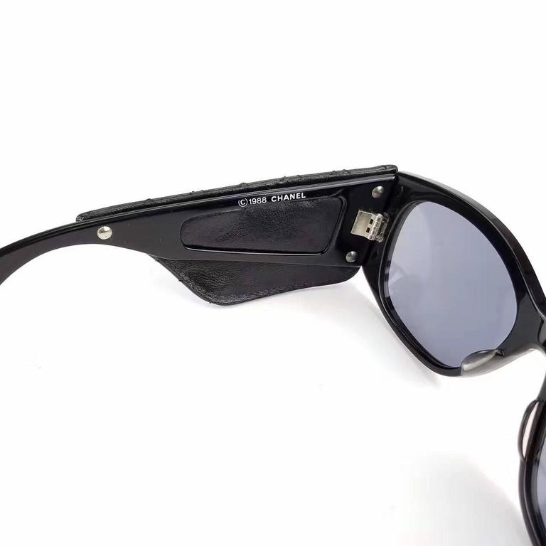 Women's Chanel Black Quilted Leather Sunglasses  For Sale