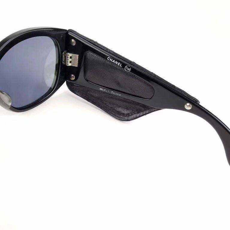 Chanel Black Quilted Leather Sunglasses  For Sale 1