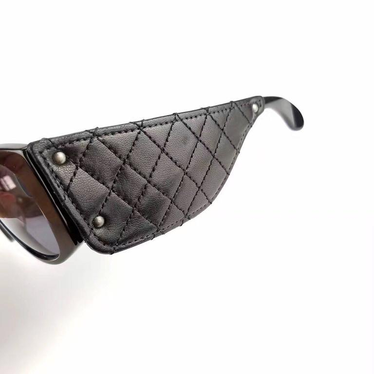Chanel Black Quilted Leather Sunglasses  6