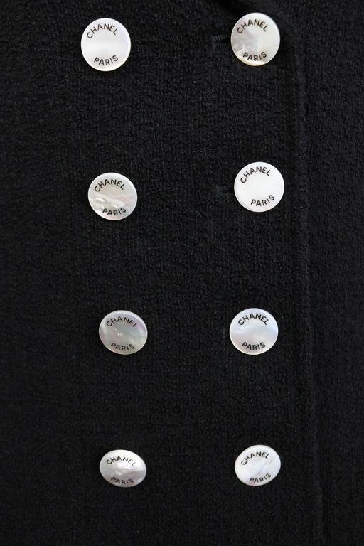 - Vintage Chanel black boucle wool double breasted with mother of pearl buttons jacket from pre1997 collection. After 20 years, this jacket still look amazing and not outdated! The jacket is rare in the market and the condition is excellent!   -