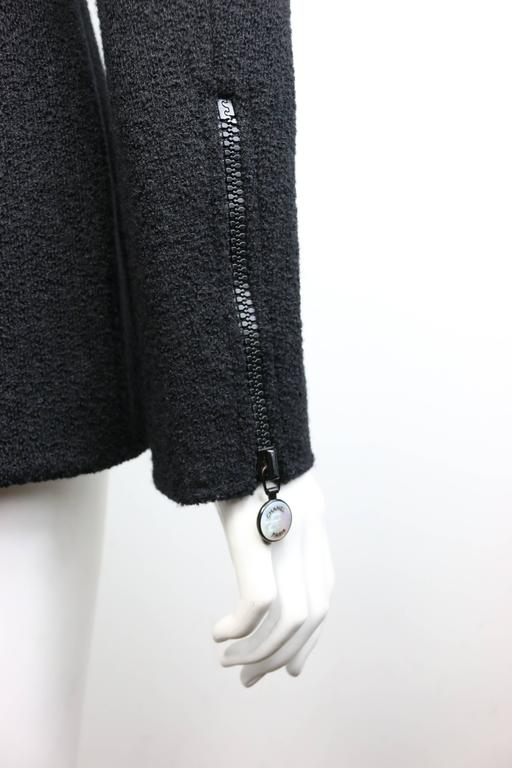 Women's 97 Chanel Black Boucle Wool Double Breasted with Mother of Pearl Buttons Jacket  For Sale