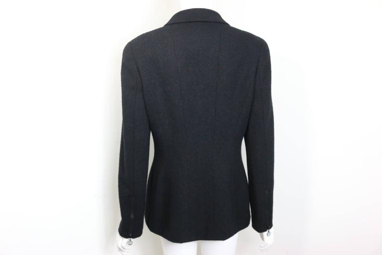 97 Chanel Black Boucle Wool Double Breasted with Mother of Pearl Buttons Jacket  In Excellent Condition For Sale In Sheung Wan, HK