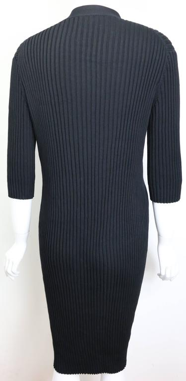 Chanel Black Cotton Stripe Short Sleeves Long Cardigan  In Excellent Condition For Sale In Sheung Wan, HK