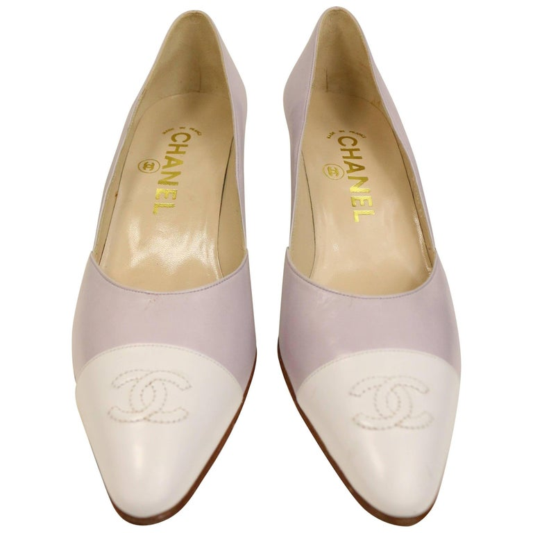 "Chanel Bicolour Purple and White ""CC"" Leather Pointed Heels  For Sale"