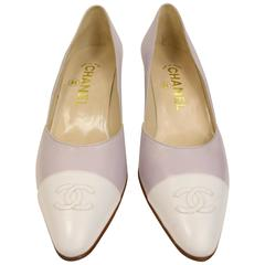 "Chanel Bicolour Purple and White ""CC"" Leather Pointed Heels"