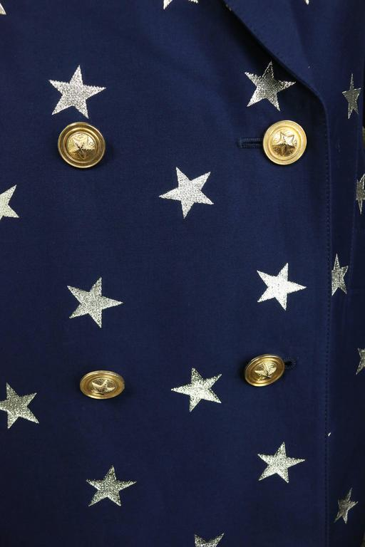 Black Escada Navy with Gold Stars Double Breasted Blazer For Sale