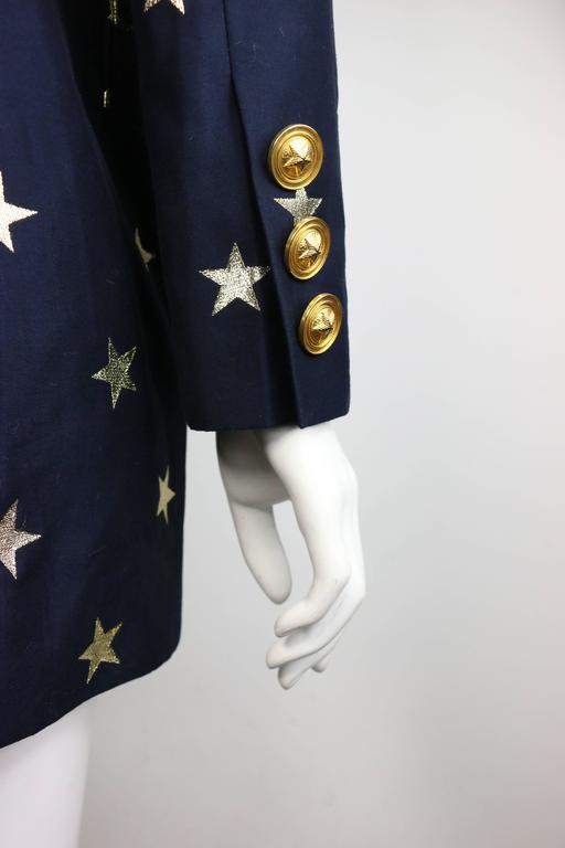 Escada Navy with Gold Stars Double Breasted Blazer In Excellent Condition For Sale In Sheung Wan, HK
