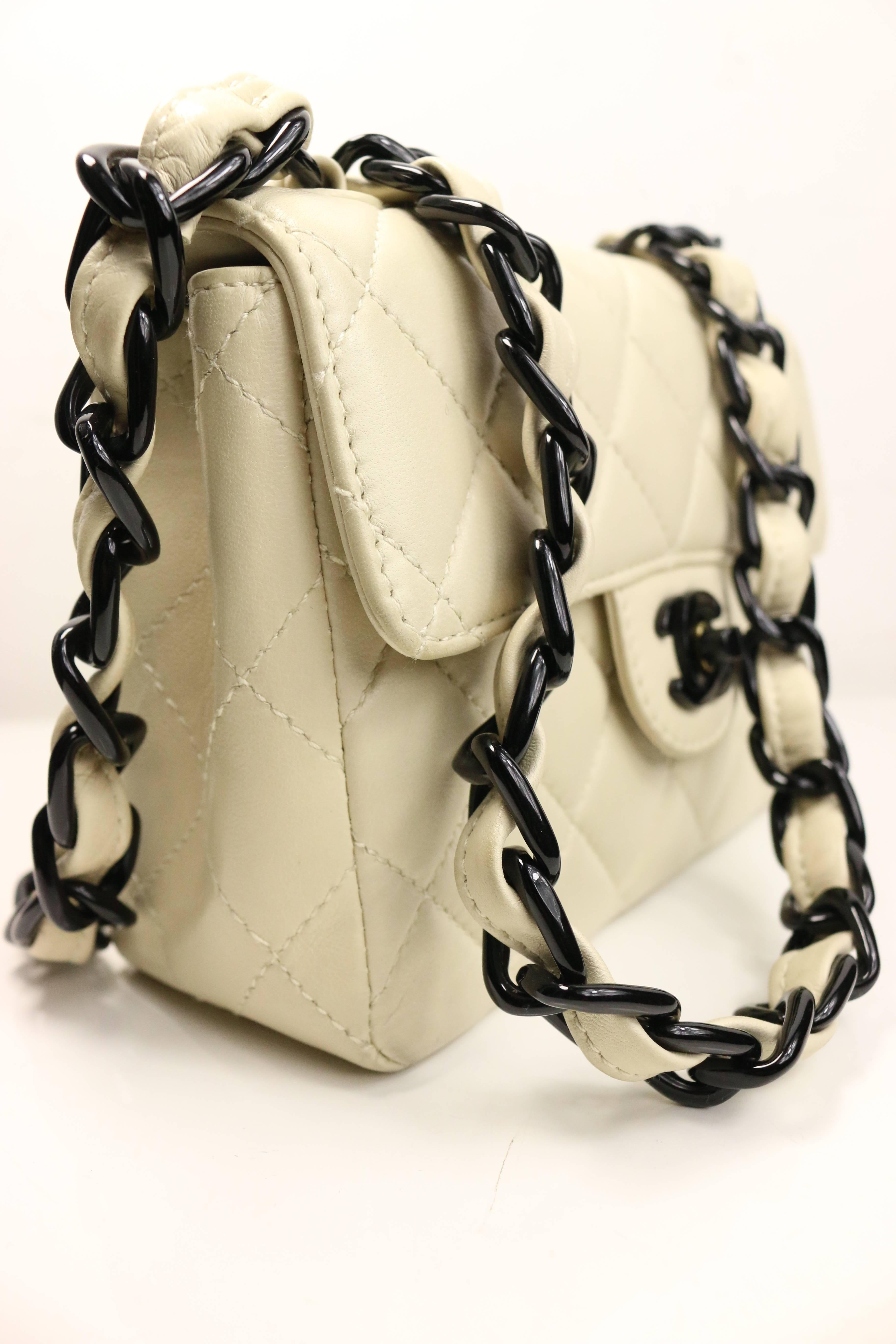 c115177205ab Chanel Vanilla Quilted Lambskin Leather with Black Vinyl Chain Mini Flap Bag  at 1stdibs