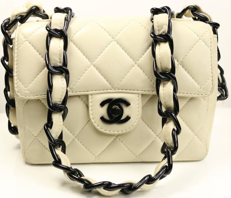 9ea12f4499eb Vintage 90s Chanel vanilla quilted lambskin leather with black vinyl chain  strap leather mini flap