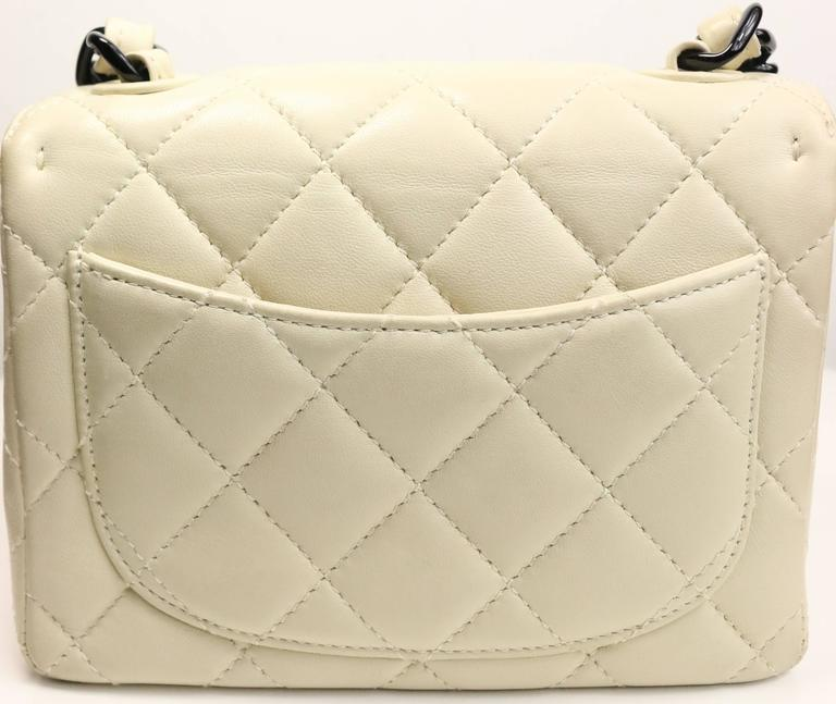 3da773d10f73 Chanel Vanilla Quilted Lambskin Leather with Black Vinyl Chain Mini Flap Bag  In Excellent Condition For