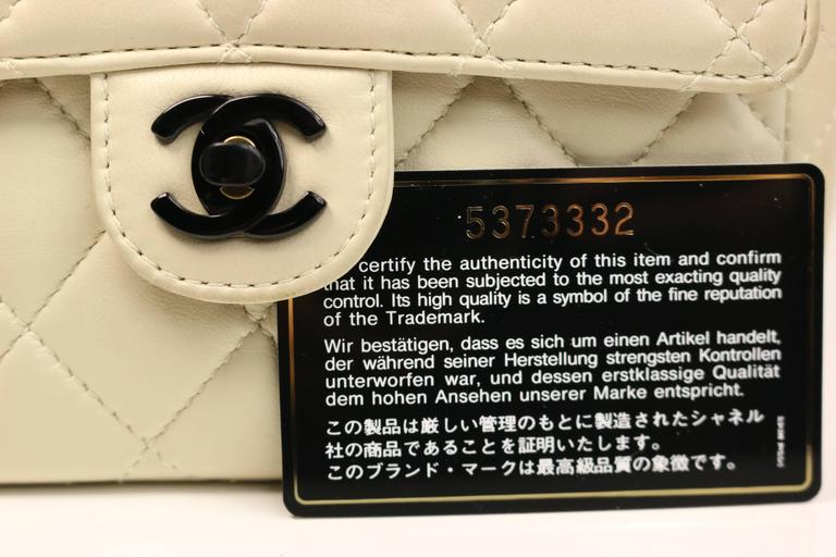 12d26ea24124 Chanel Vanilla Quilted Lambskin Leather with Black Vinyl Chain Mini Flap Bag  For Sale 3