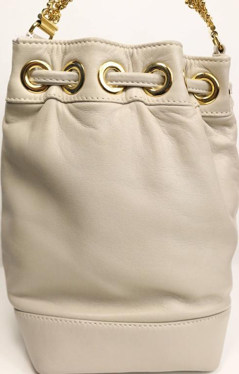 Gianni Versace Medusa Light Grey Leather Drawstring Mini