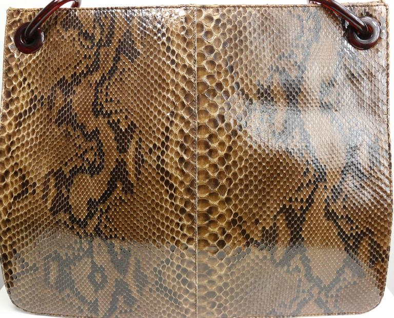 90s Prada Python with Tortoiseshell Shoulder Strap Tote Bag In Excellent Condition For Sale In Sheung Wan, HK