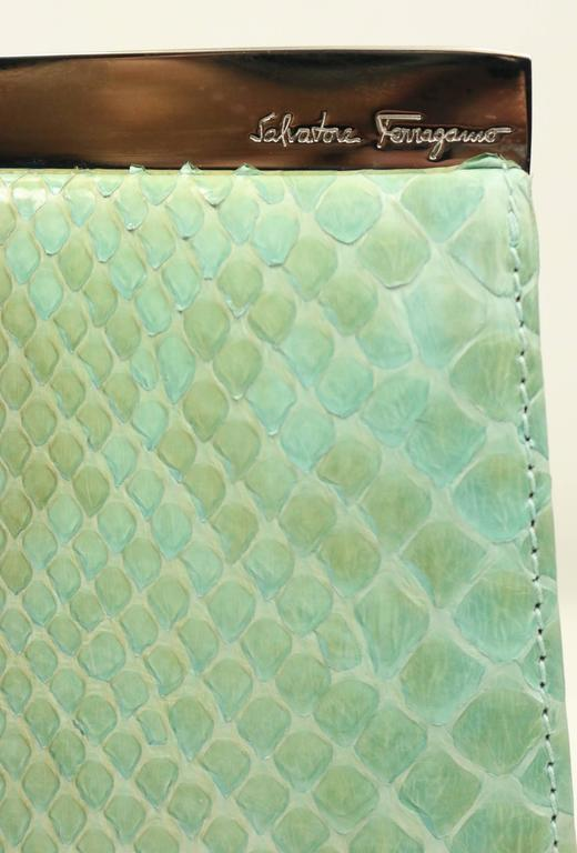 Salvatore Ferragamo Green Python Clutch  For Sale 2