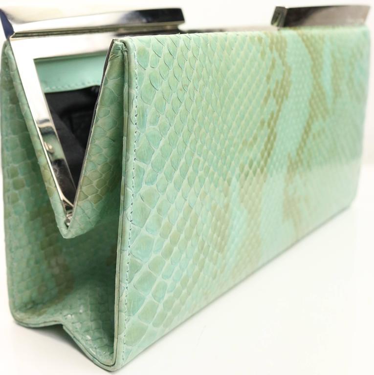 Women's Salvatore Ferragamo Green Python Clutch  For Sale