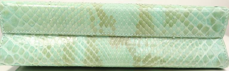 Salvatore Ferragamo Green Python Clutch  For Sale 1