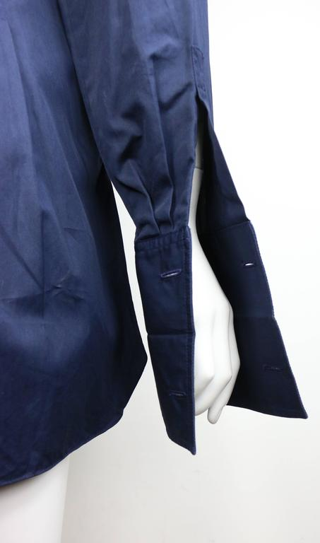 Chanel Navy Cotton Collar Shirt with Cuff  In Excellent Condition For Sale In Sheung Wan, HK