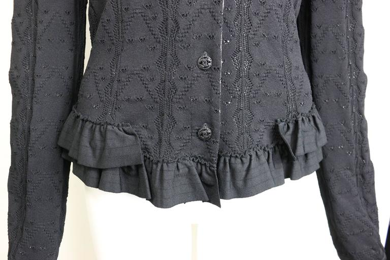 Chanel Black Crochet Knit and Ruffle Bottom Cardigan  In Excellent Condition For Sale In Sheung Wan, HK