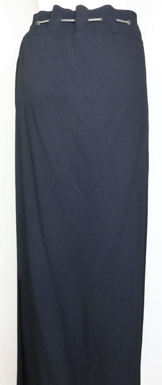 Chanel Black Long Skirt with Silver Chain Waist 3