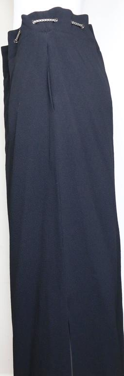 Chanel Black Long Skirt with Silver Chain Waist 4