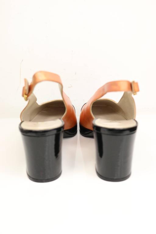 Chanel Bi Tone Metallic Orange with Black Patent Square Toe Mary Jane Slingback 3