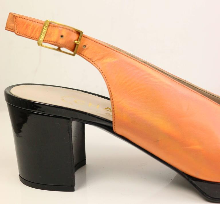 Chanel Bi Tone Metallic Orange with Black Patent Square Toe Mary Jane Slingback 2