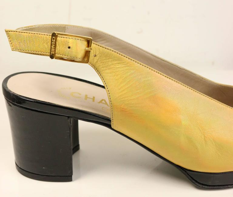 Chanel Bi Tone Metallic Gold with Black Patent Square Toe Mary Jane Slingback  2