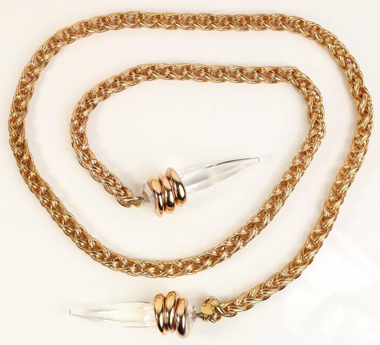 - Vintage 80s Crisco (brand launched by Escada) copper metal chain belt attached with two plastic