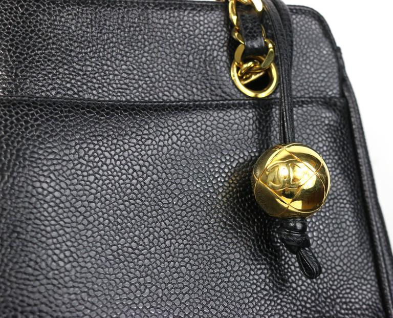 4bd21a93e504 Vintage 90s Chanel black caviar leather gold chain shoulder bag. Its one of  the