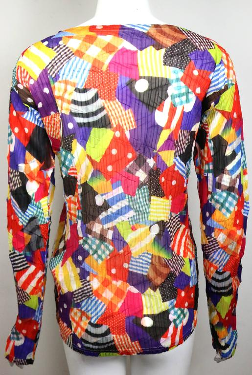 Issey Miyake Multi Colour and Pattern Long Sleeves Pleated Top 3