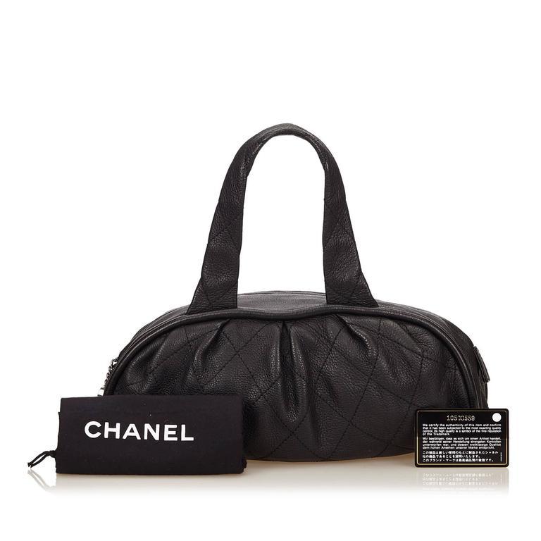 Chanel Black Leather Le Marais Bowler Bag For Sale 4