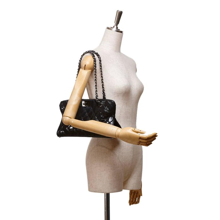 Chanel Black Quilted Patent Reissue 2.55 Chain Shoulder Bag  2