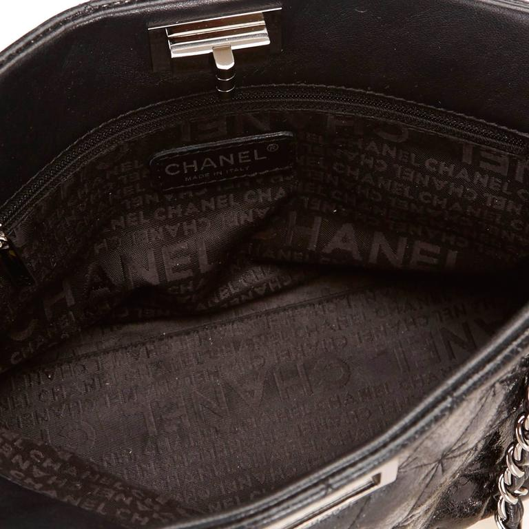 Chanel Black Quilted Patent Reissue 2.55 Chain Shoulder Bag  For Sale 1