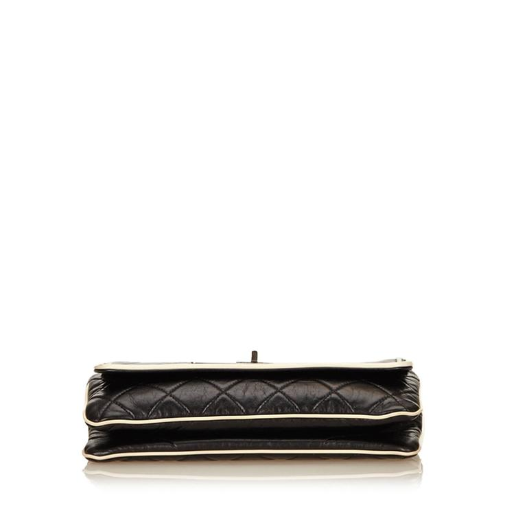 Chanel Black Quilted Leather East West Flap Bag  3