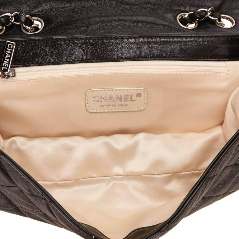Chanel Black Quilted Leather East West Flap Bag  4