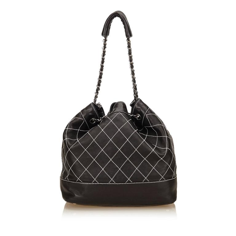 Women's Chanel Black and White Wild Stitch Drawstring Tote Bag For Sale