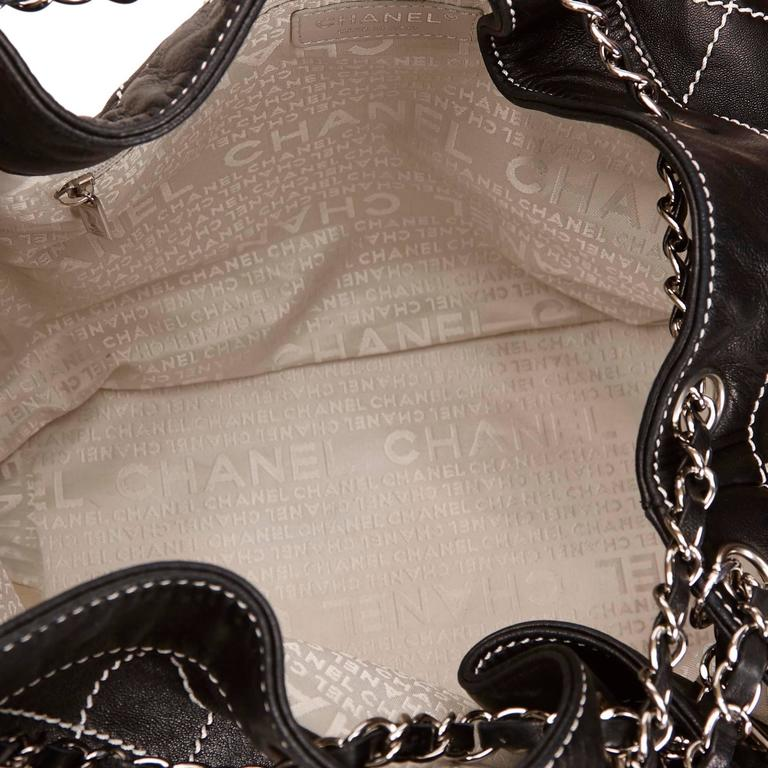 Chanel Black and White Wild Stitch Drawstring Tote Bag For Sale 1
