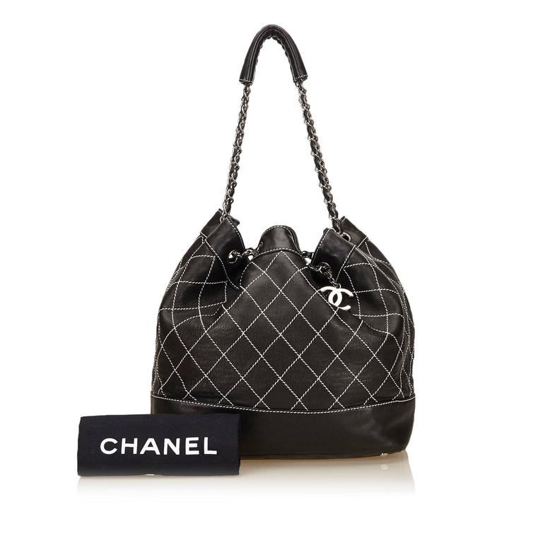Chanel Black and White Wild Stitch Drawstring Tote Bag For Sale 4