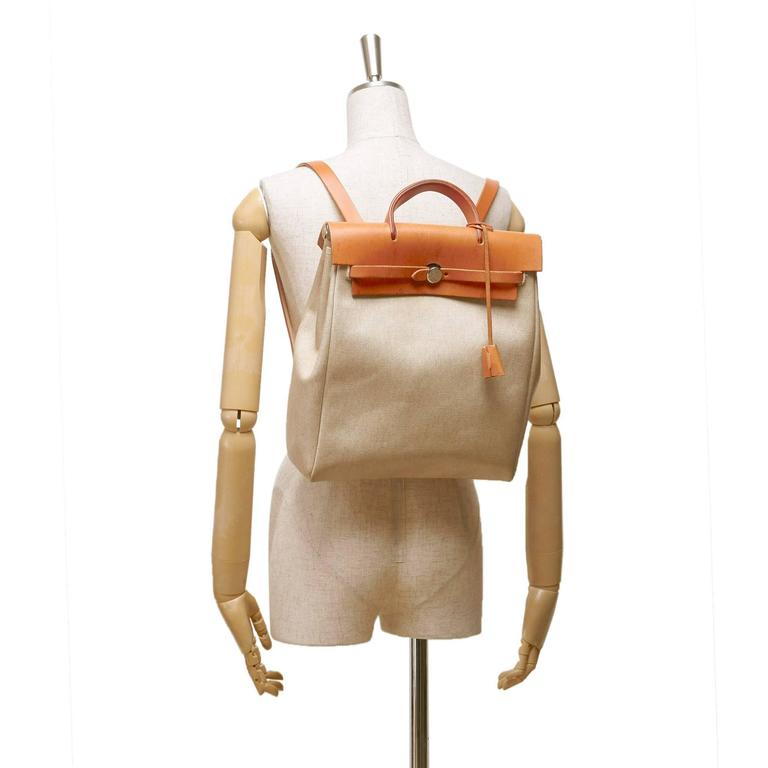 Hermes White Canvas Herbag Pm Backpack 2