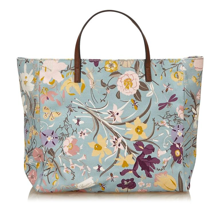 Gray Gucci Blue with Multi Coloured Floral Printed Canvas Tote Bag For Sale