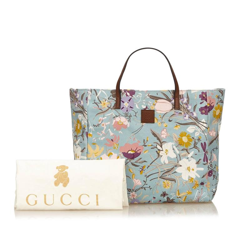 Gucci Blue with Multi Coloured Floral Printed Canvas Tote Bag For Sale 2