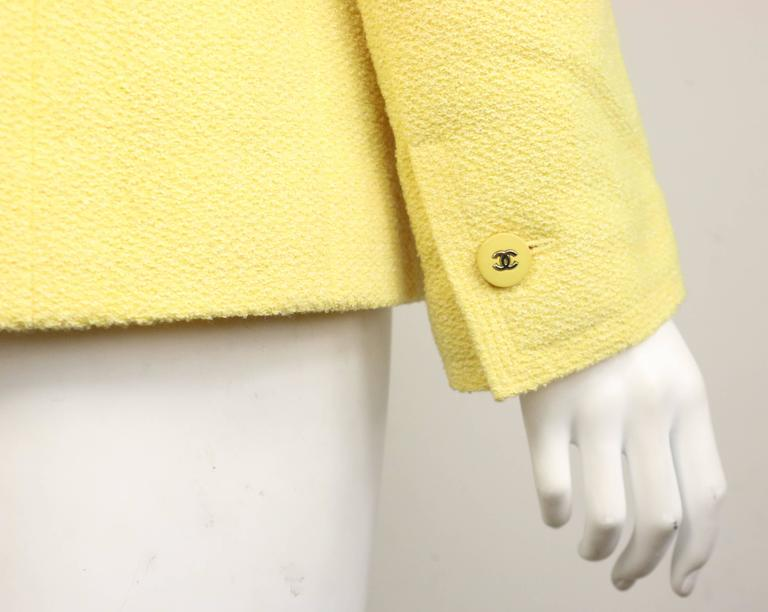 Beige Chanel Yellow Boucle Wool Jacket For Sale