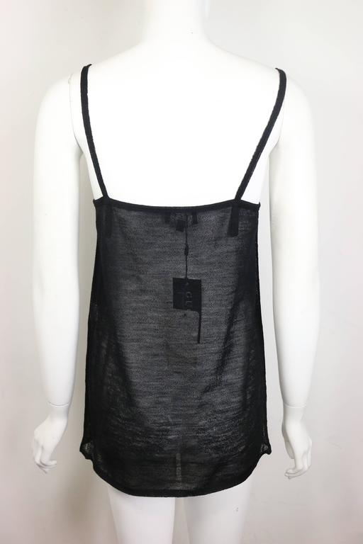 Gucci by Tom Ford Black Wool See Through Spaghetti Tank Top  In New Condition For Sale In Sheung Wan, HK