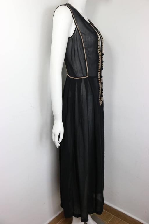 aa0ea1abab0 Emporio Armani Black Linen Embroidered Sleeveless Maxi Dress In New  Condition For Sale In Sheung Wan