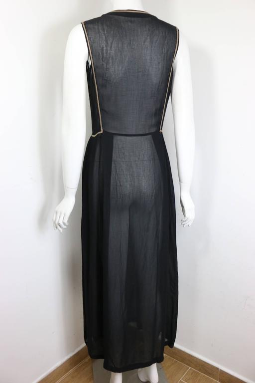 e1d3a66c84d Women s Emporio Armani Black Linen Embroidered Sleeveless Maxi Dress For  Sale